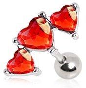 Red Triple Heart Crystal Tragus / Cartilage Upper Ear Earring Bar