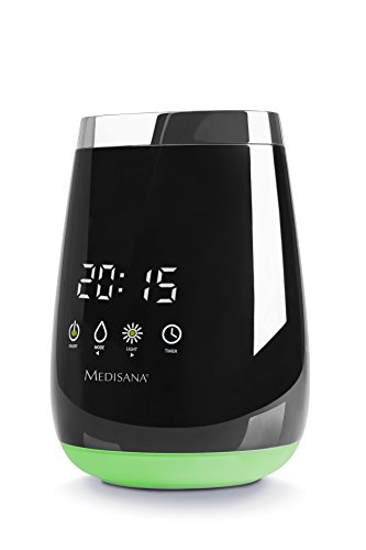 Medisana 60086 AD 640 Aroma Diffuser, für einen angenehmen Raumduft, LED Wellness-Licht in 3 Farben, LED Zeitanzeige, Timer, Ultraschall-Technologie, 100ml