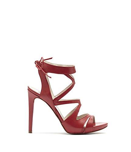 Poi lei femme sandales à talons hauts lanière avec nœud de fermeture giorgia en cuir rouge Rouge