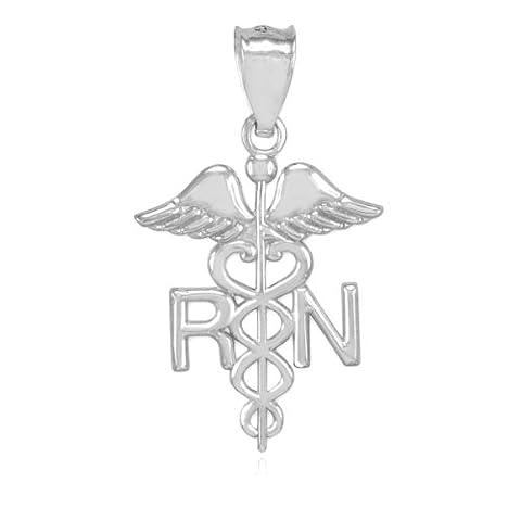American Heroes Women's Polished 10k White Gold Caduceus RN Charm Registered Nurse Pendant