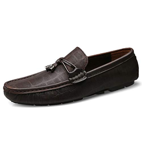 Herren Classic Leder Penny Loafers Komfort Driving Schuhe Slip-on Flats Hausschuhe Casual Low-Top Business Boat Lazy Schuhe,Brown,39 - Semi Formelle Kleidung