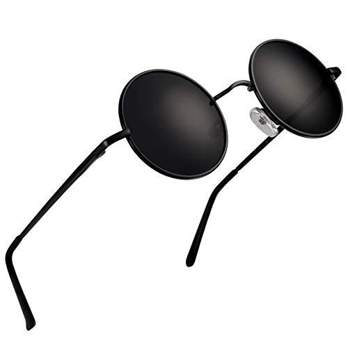 wearPro Runde Sonnenbrille Herren Damen Runde Polarisiert Sonnenbrille Herren Damen Retro Vintage Sonnenbrille für Herren Damen Unisex 3013 (blue, 2.05) (Schwarz Schwarz)
