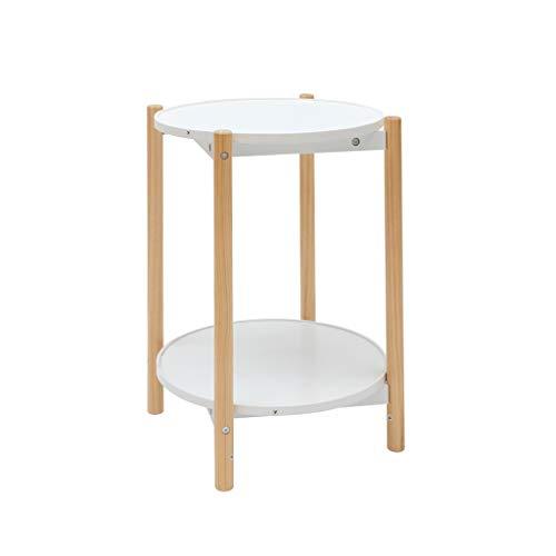 Seite Tee-tabelle (KJzhu Doppelschicht Tisch, Sofa Seite Wohnzimmer Holz Couchtisch Lagerung Multifunktions Kreative Tabelle Schlafzimmer Nacht Tee Tisch Groß (Size : 34 * 55cm))