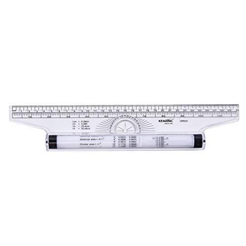 Elviray 30CM Winkel-Parallellineal Roller Design-Zeichnungslineal Mehrzwecklineal -