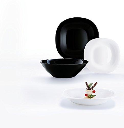 Luminarc 19 Piezas Carine Moderne Vajillas a bajo coste combinadas, Vidrio sodo, Blanco y Negro, 30x30.7x22 cm, Unidades