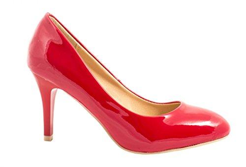 Elara Damen Pumps | Stiletto High Heels | Abendschuh Metallic Rot