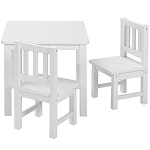 BOMI Kindertisch mit 2 Stühlen Amy | abgerundete Ecken und Kanten | aus Kiefer Massiv | Holz sitzgruppe Kind | für…