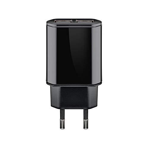 Goobay 73274 Dual USB-Ladegerät 2,4 A mit 2x USB-Buchse, intelligente Geräteerkennung, Überspannungsschutz, flache Bauform, Schwarz Schwarz Dual Usb