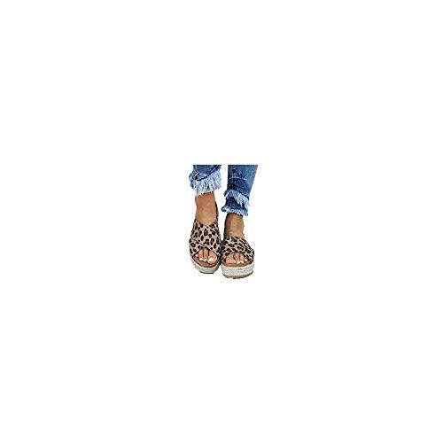 Sandalen Damen Sommer Espadrilles Pantoletten mit Plateausohle und Leoparden Print, Frauen Sommerschuhe Offener Zeh Outdoor Strand Sandaletten Bequeme Strandsandalen Gr.35-43 Celucke (Braun, 36 EU)