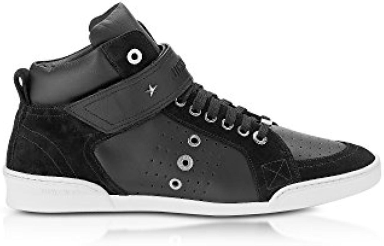 Jimmy Choo Herren LEWISOCUSPORTCALFSUEDEBLACK Schwarz Leder Hi Top Sneakers