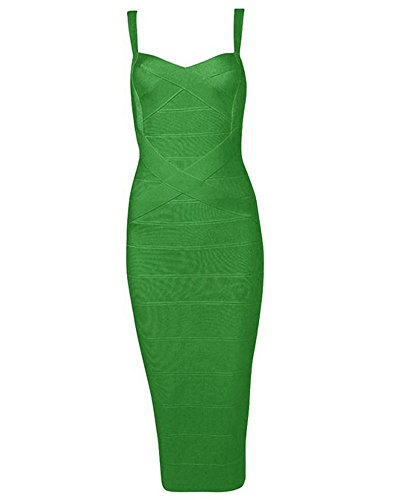 Whoinshop Women's Rayon Strap Mid-Calf Length Evening Party Bandage Prom Dress (M, dunkelgrün) -