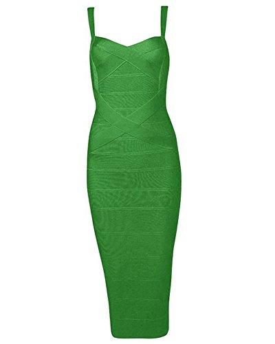 Whoinshop Women's Rayon Strap Mid-calf Length Evening Party Bandage Prom Dress (S, dunkelgrün) (Kleider Formale Junior)