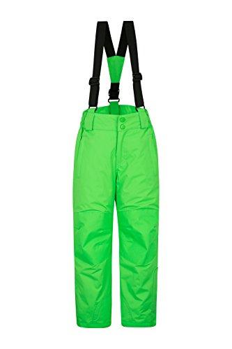 Mountain Warehouse Raptor Skihose für Kinder - Taschen, schneedichte Hose, abnehmbare Träger & Reißverschluss am Knöchel, Verstärkte Knie - Ideal für Jungen und Mädchen Grün 164 (13 Jahre)
