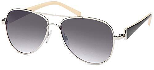 Balinco Damen Pilotenbrille Sonnenbrille mit Stresssteinen & lackierten Bügeln 70er Jahre Sunglasses Fliegerbrille (Black/Smoke)