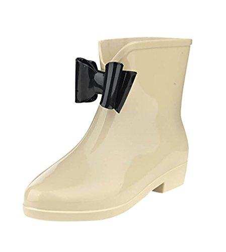 LvRao Damen Hohen Absätzen Boots Gummi Wasserdichte Regen Schuh Gummistiefel Halb Wellies Kurzstiefel Halbstiefel Beige