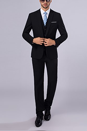 Tsui-Fashion Men's Black Slim-Fit Dress Shirts Business XZ00324BK Black