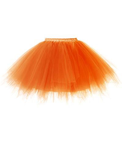 Dresstells Damen Tüllrock 50er Rockabilly Petticoat Tutu Unterrock Kurz Ballett Tanzkleid Ballkleid Abendkleid Gelegenheit Zubehör Orange M