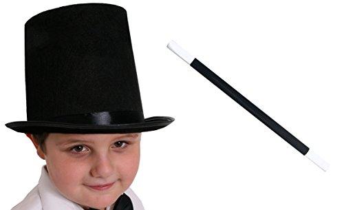 Ilovefancydress® - accessori per travestimento da mago per bambini, cappello a cilindro nero da 55 cm, bacchetta magica e guanti bianchi