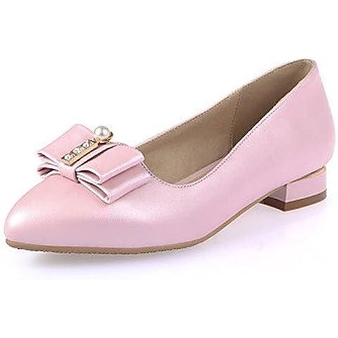 Da Wu Jia donne scarpe Scarpe Donna - Ballerine - Ufficio e lavoro / Formale / Casual - Decolleté con cinturino / A punta - Basso - Finta pelle -Nero / Rosa / , white-us5 / eu35 / uk3 / cn34 , white-us5 / eu35 / uk3 / cn34