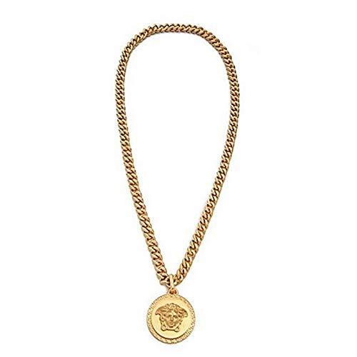 ORKST Medusa 18K Gold Runde Anhänger Legierung Halskette Männer und Frauen Schmuck Zubehör Geschenkbox/4.2 * 4.2cm/Kettenlänge 70cm