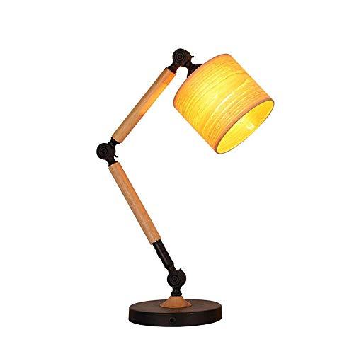 GRMV Tischlampe Nordic Modern Einstellbare Holztisch Lampe Studie Augenstudie Lesen Arbeitstisch Licht Einfache Kreative Industrie Wind Einstellbare Schreibtischlampe -