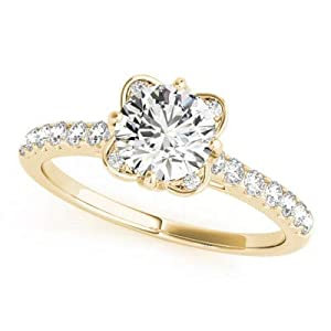 Damen-Ring Verlobungsring 1,50 Karat Moissanit 14 Karat (750) Rotweiß Gelbgold massiv Größe P O L K J H G N M Q