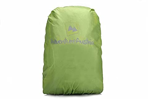 Green Small 15-35L Waterproof Backpack Rucksack Adventure Rain Cover from AdventureAustria. Ideal Bag Accessories For Outdoor Sports Activities Hiking Trekking Walking Cycling Camping etc. Made of Lightweight Water Resistant Nylon Material Available in Small Medium and Extra Large Size. Elasticated Adjustable & Reflective. Fits Most Packs. Handy Travel Storage Pouch Included. Available in Black Grey Blue Green Red Yellow & Orange.