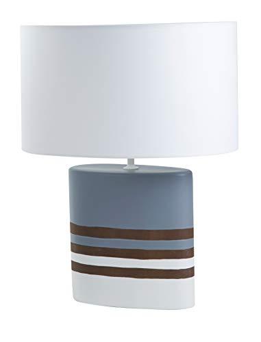 Lampe à poser Tribord - lampe classique en céramique - ø37 x H53 cm - E27 60W (Bleu/Taupe/Blanc)
