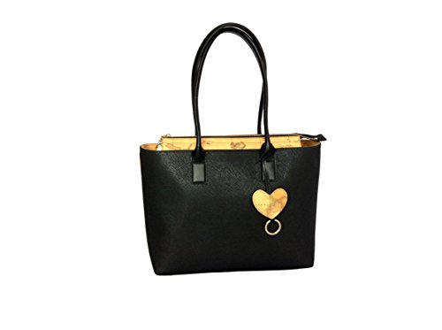 Borsa shopping bag donna Alviero Martini Prima Classe colore nero in pelle due manici con chiusura inserto pelle Geo natural Classic. LGH269407