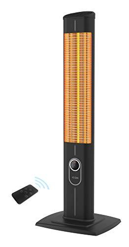 ICQN 2500 Watt Stand Heizstrahler mit Fernbedienung   Infarot   Infarotheizung für Innen- & Außenbereich   Standheizstrahler   Standgerät   IP20   Digitalanzeige   IC2500.RB schwarz