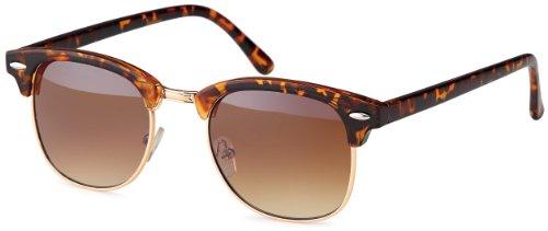 Vintage Sonnenbrille im angesagten 60er Browline-Style mit markantem Halbrahmen in Schwarz- und Hornoptik, auch für schmale Gesichter und Kopfformen (leo-Verlauf)