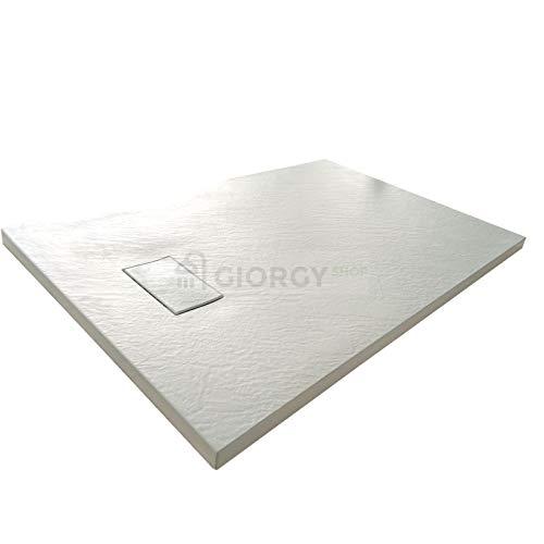 Piatto doccia 70x120 Bianco H.2.6 cm effetto pietra ardesia SMC in resina termoformata.