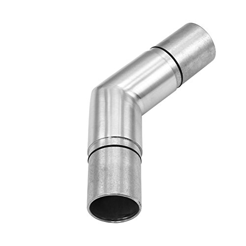 MonsterShop Handrail 135 Degree Elbow Connector, 42mm Staircase Bannister Rail, Stainless Steel