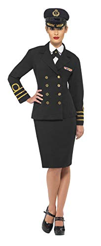 Smiffys Costume d'officier de la marine, femme, noir, veste, jupe, fausse chemise et coi