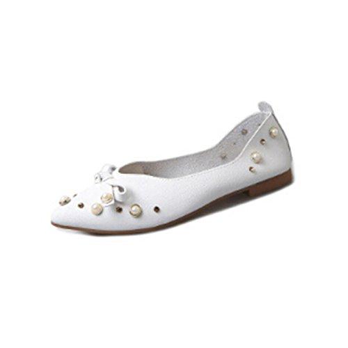 Asakuchi Mode Gladiator Damen, DoraMe Frauen Wilde Perle Bogen Freizeitschuhe Elegant Party Einzelne Schuhe 2018 Frühling Sommer Slip On Sandalen Neue Loafers Schuhe (39, Weiß)