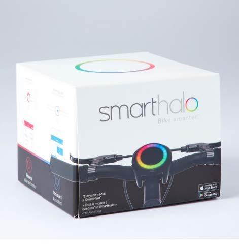 SmartHalo SH001 smarter Fahrradassistent mit Navigation, Licht, Diebstahlsicherung, Fitnesstracking, LED-Anzeige, für iOS und Android, Schwarz
