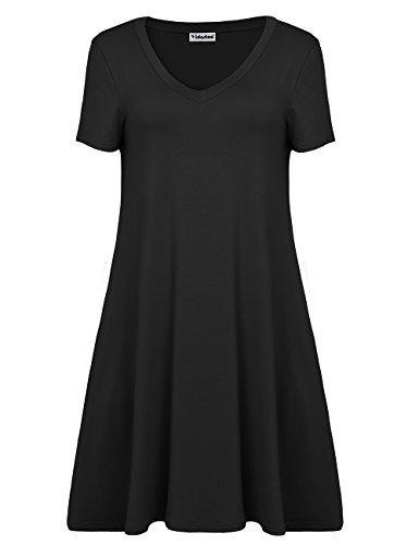 Yidarton Sommerkleid Damen V-Ausschnitt loses Kleid Kurzarm T-Shirt Kleid Schwarz