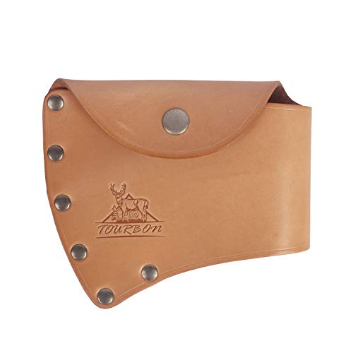 Tourbon - Funda protectora de piel para cabeza de hacha con pasador para cinturón