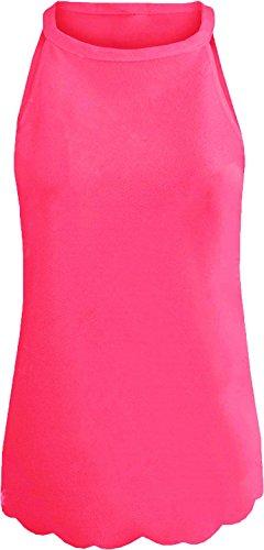 Re Tech UK Damen Neckholder Unterhemd Hot Pink