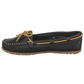 Minnetonka Boat Moc 616S, Mocassini donna Black Leather