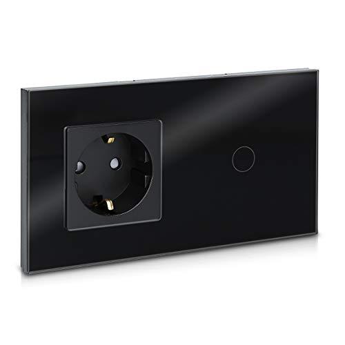 Navaris Interruptor táctil con enchufe para pared - Marco de cristal doble...