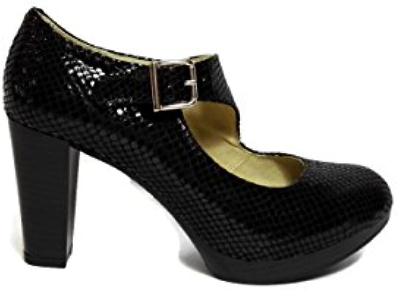Anyovi -Zapatos de salon con correa cruzada - Negro-Hecho en España -