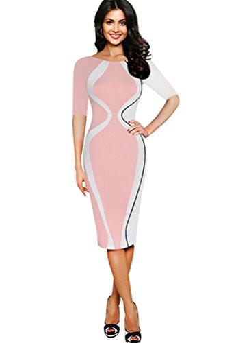 CHENGYANG Femmes Rétro Col Rond Manches Courtes Impression Gourd Crayon Robe de Soirée pink