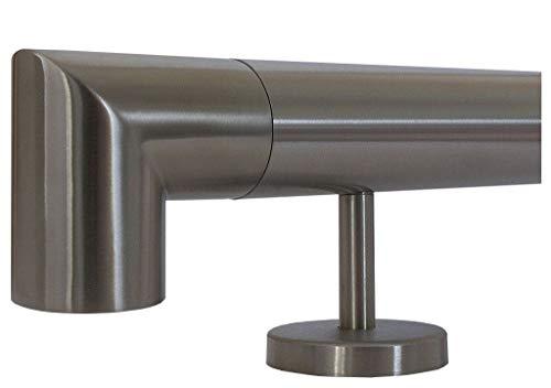 Edelstahlhandlauf Länge 0,3m - 6m aus einem Stück und unterschiedlichen Endstücken zum Auswählen Ø 33,7 mm mit gerade Halter, zum Beispiel: Länge 450 cm mit 5 Halter, Enden mit Ecke zur Wand
