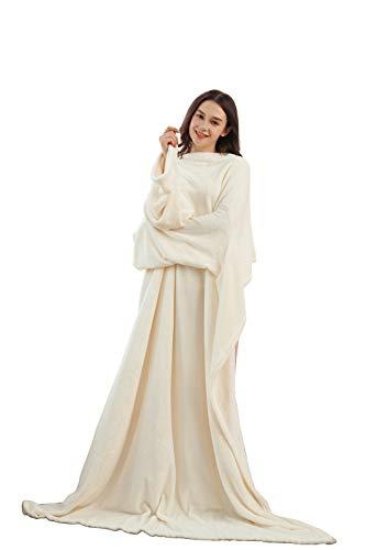 Winthome - Coperta lunga in pile, indossabile, con maniche, comoda, morbida, calda, funzionale, per adulti, Flanella, crema, 140x170cm