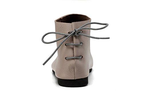 MatchLife Femme Vintage Cuir Synthétique Laçage Chaussures Style1-Gris
