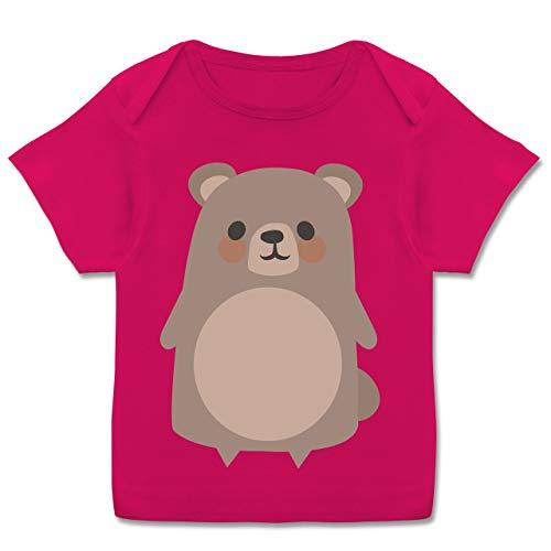 Karneval und Fasching Baby - Teddy Fasching Kostüm - 68-74 (9 Monate) - Fuchsia - E110B - Kurzarm Baby-Shirt für Jungen und Mädchen (Tron Kostüm Mädchen)