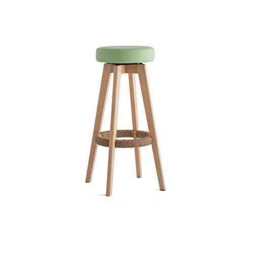 Barhocker Vintage hohe stühle Europäischer drehender Sitzkaffee Bank kann die Höhe Nicht einstellen -65cm, 74cm Dickes Schwammkissen Multi Color (Farbe : Grün, größe : 74cm)