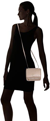 CTM Borsetta a spalla da Donna stampa Saffiano, tracolla regolabile, vera pelle made in Italy - 18x17x10 Cm Rosa
