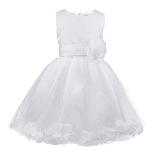iEFiEL Vestido de Flores Boda Niña Vestido de Princesa Fiesta Infantil Elegante Bautizo Ceremonia Niña Blanco 5 años